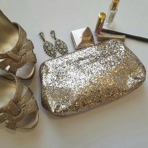 J. Crew Gold Glitter Clutch